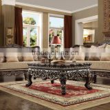 American Classic Style Black Walnut Color Solid Wood Fabric Sectional Sofa/Villa Living Room Sofa (MOQ=1 Set)