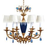 Luxurious Vintage Victorian Style Royal Imperial Blue Porcelain and Crystal Golden Brass Pendant Lamp, Chandelier BF12-05254g