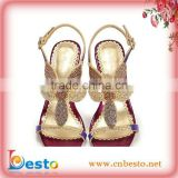 S0001 Elegant ladies red high heel rhinestone sandal for wedding