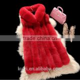 2017 Newest design Long woman real fox fur vest with hood natrual raw colour--pc-250