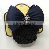 Navy Blue, Black Women Bun Cover Net Snood Bowknot with Diamante Flower Decor Barrette Hair Clip
