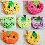 wholesale doll-shape plush coin purse,fruit wallet with handle