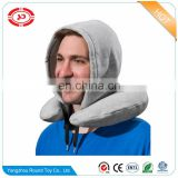 Neck pillow with hat soft travel stuffed with hoody gift