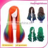 Hair Extensions Wig Permanent Human Hair Wigs Cosplay Long Orange Wig