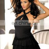 Beauty'slove Crossed halter double layer ruffle satin babydoll dress lingerie midnight lingerie