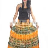MULTI COLOR TIE DYE COTTON LONG SKIRT WITH LINING BIG FLAIR, FLOWER PRINT, 36 inches length