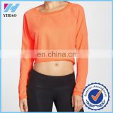 Trade assurance Yihao women's sportswear crewneck cropped pullover hoodie sweatshirts