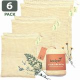 Cotton Produce Bags - 6 Pack Reusable Mesh Produce Bags - Washable Vegetable Bags with Drawstring and Tare Weight on Tag - Zero Waste Produce Bags for Grocery Shopping and Storage