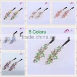 Multi Colors Elegant Charming Hair Grips Top Quality Metal Crystal Decoration Flower Ceramic Beads Hair Clips For Girls