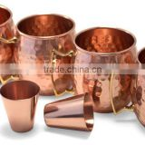 Set of 4 Pure Copper Beer Mugs with Copper Shot Glasses , Hammered Copper Mugs, Moscow Mule Copper Beer Mugs