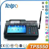 TPS550 with camera, 1D/2D Barcode Scanner, Finger Print Scanner nfc touch screen cheap android pos system with printer