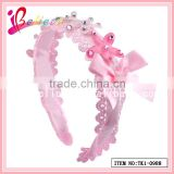 Chinese supplier factory wholesale handmade ribbon bow pink hairband with rhinestone (TK1-0988)