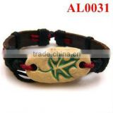 cheap bracelet, leather bracelet handmade with a natural stone carved a maple leaf pattern AL0031