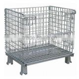 Foldable steel pallet basket container/grocery shelves containers