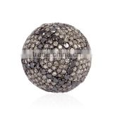 925 Sterling Silver Bead Ball Findings, Diamond Pave Findings, Spacer Diamond Bead, Vintage Jewelry Findings Manufacturer