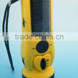 Emergency dynamo solar battery, hand crank flashlight with fm radio and moible phone charger