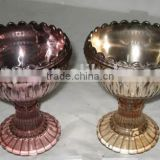 Sodalime silver pink plated ice cream cup with flower shaped stem leadfree manufacture popular model