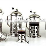 stainless steel coffee plunger with heat resistant glass