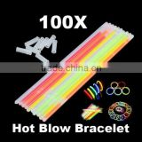 100Pcs Glow Light Sticks Bracelets Necklace Party