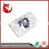 Diaphanous personalized plated metal member card business