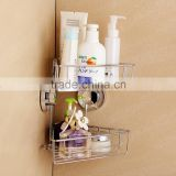 2 tiers Shower Caddy,Bathroom Wall Mounted Soap Shampoo Shelf With Two Suction Cups Shower Basket