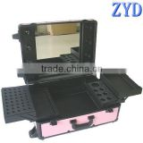 Lighting beauty case with stand aluminum trolley cosmetic lamp case pink makeup case with light