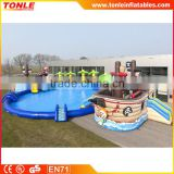 Commercial inflatable pirateship waterpark/inflatable pirateship water slide with a pool for sale