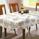 beautiful flower printed Vinyl table cloth with flannel backing, manufacturer for table cloth