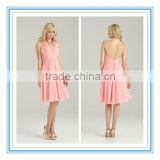 Knee-Length Halter Top Plunging Neckline Ruched Chiffon Baby Pink Bridesmaid Dress( BDAL-4022)