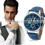 Splendid Luxury Fashion Leather Men Blue Ray Glass Quartz Analog Watches Casual Cool Watch Men wholesale