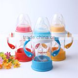 180ml unbreakable hand made drinking glass baby feeding bottle custom logo printed milk glass nursing bottle factory