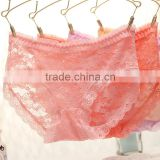 E006 Hot sale sweet girl pink lace low waist cotton panty 2015