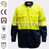 High visibility,breathable, cut resistant and fire resistant work shirts with mesh