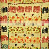 Elephant Patchwork Hand Applique work kantha Quilt Throw Kid's Bed cover bedspread Tapestry