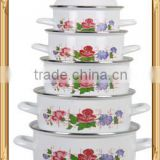 Stylish White Enamel Cookware Set Kitchenware Two Side Flower Decal Enamel Pot 5 Pcs Stock Belly Pot With Lid