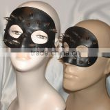 Black Genuine Leather Venetian Mask Unisex Steel Spikes Halloween Costume Adult