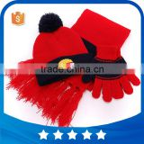 Wholesale customized funny embroidery hamburg Red 3pcs set kids winter warm crochet beainie knitted hat with scarf gloves