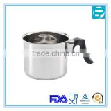 Stainless steel kitchen milk warmer pot with plastic handle