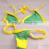 Green/Yellow Thong Bikini with Brazil Flag Size Small/2014 world cup flag bikini swimwear swimsuit