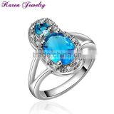 Fashion Big Sapphire Blue Zircon Crystal Ring Party Engagement Exaggerated Wedding Rings for Women Platinum Plated Wedding Ring