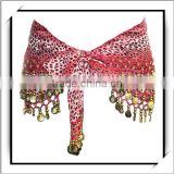 HOT! Leopard Grain Gold Coins Belly Dance Hip Wrap