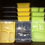 BPA free 4 compartment microwave safe and ecofriendly material made plastic food container with clear lid