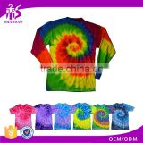 Guangzhou Shandao Factory Direct Sale Summer Casual O-Neck 190g 100% Cotton Custom Tie Dye Long Sleeve T Shirt