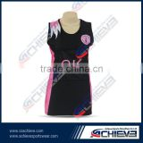 Cheap custom sublimation netball uniforms body suit bib dresses