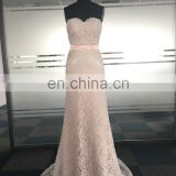 Custom Made Honey Peach Pink Sweetheart Neckline Lace Long Wedding Bridesmaid Dress