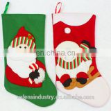 Factory Supply OEM Wholesale Fashion Santa Claus stocking shape christmas gift bag With Snowman and Santa Claus Decor