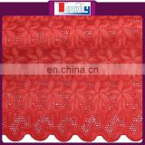 2015 Red Swiss embroidery cotton lace fabric