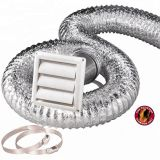 HVAC Systems Parts Flexible Hose Kit 4'' 8 Ft Aluminum Duct,Vent Cover, Wall Pipe, Clamps Set