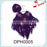 2015 New fashion Cloths girls crochet Knitting flower embroidery kids knit poncho shawl with hood