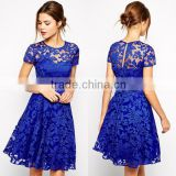 Latest dress women designs , Evening designs knee length short latest formal lace dress, fashion party dress